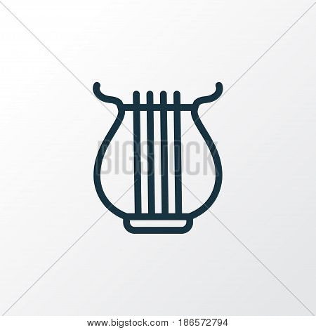 Harp Outline Symbol. Premium Quality Isolated Stringed Element In Trendy Style.