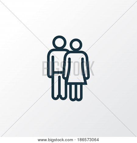 Lover Outline Symbol. Premium Quality Isolated Couple Element In Trendy Style.