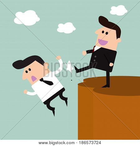 Renegade, businessman being kicked, Renegade vector illustration