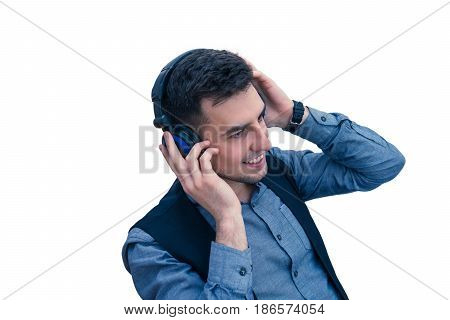 smiling man office worker wearing a headset or headphones isolated on white background
