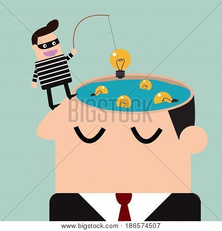 thief stealing bulb from a head .Piracy,vector illustration