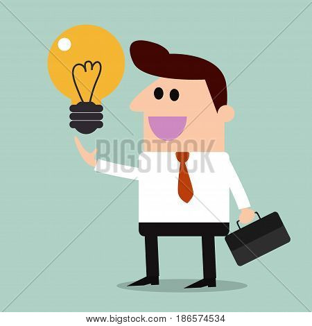 Bulb light on hand businessman idea,  businessman, vector illustration