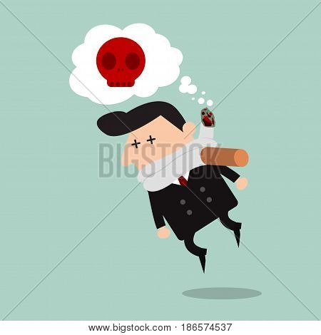 Cigarette kills man on blue Background, cartoon vector illustration, World No Tobacco Day, No smoking, Concept Stop Smoking