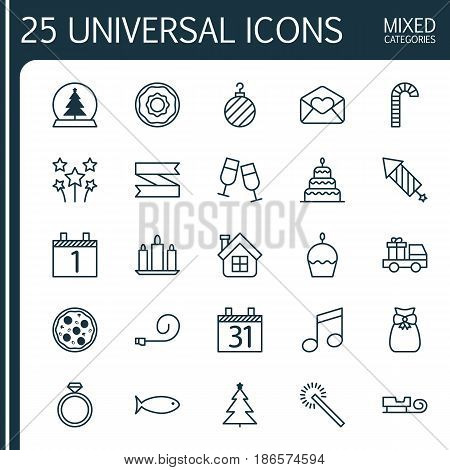 Holiday Icons Set. Collection Of Fishing, Wax, Lollipop And Other Elements. Also Includes Symbols Such As House, Note, Firework.