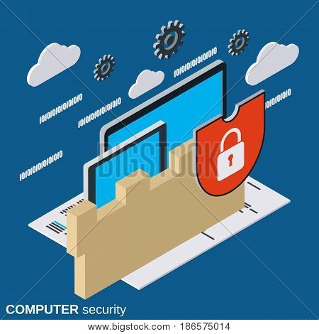 Computer security, information protection flat 3d isometric vector concept
