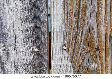 Close up of weathered brown and grey fence boards background with nails in them