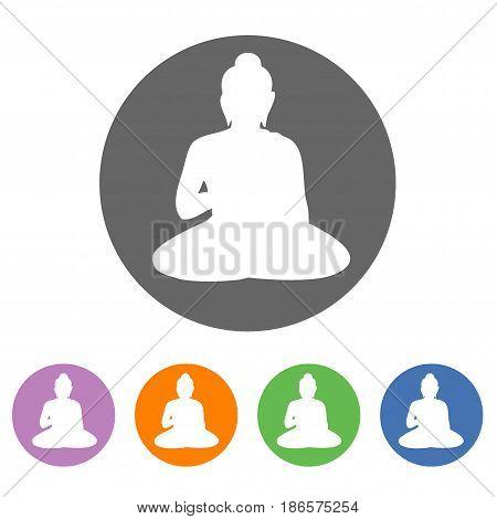 Buddha icon, Buddha vector silhouette, Buddha vector illustration