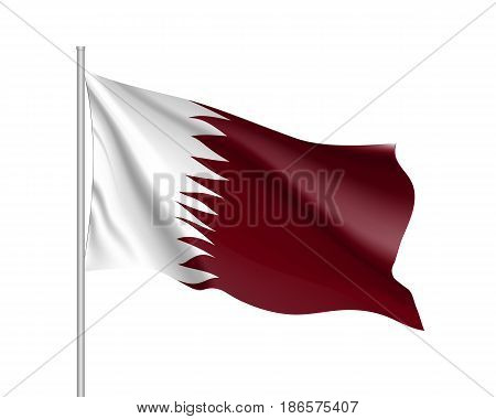 Qatar national flag, patriotic symbol of country, educational and political concept, realistic vector illustration