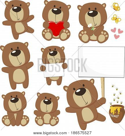 set of cute baby bears posing in different positions and design elements bees honey jar butterflies and blank placard for copy space isolated on white background