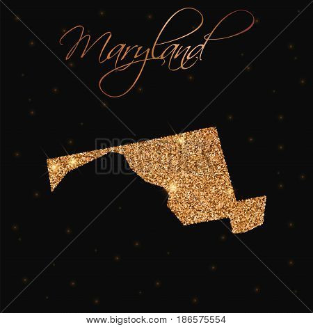 Maryland State Map Filled With Golden Glitter. Luxurious Design Element, Vector Illustration.
