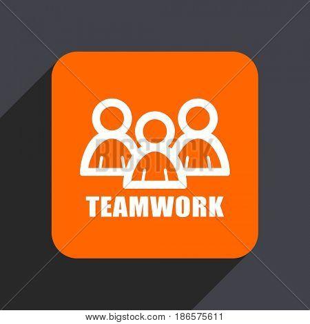 Teamwork orange flat design web icon isolated on gray background