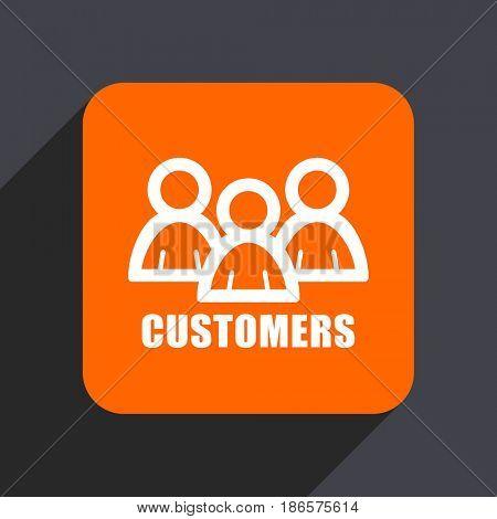 Customers orange flat design web icon isolated on gray background