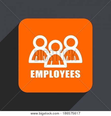 Employees orange flat design web icon isolated on gray background