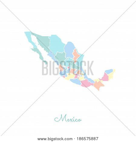 Mexico Region Map: Colorful With White Outline. Detailed Map Of Mexico Regions. Vector Illustration.