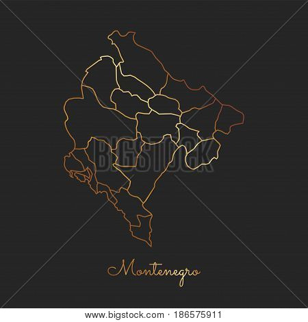 Montenegro Region Map: Golden Gradient Outline On Dark Background. Detailed Map Of Montenegro Region