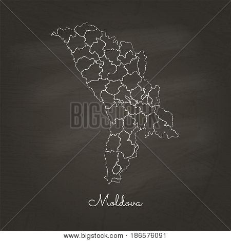 Moldova Region Map: Hand Drawn With White Chalk On School Blackboard Texture. Detailed Map Of Moldov