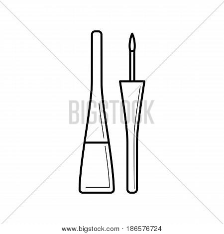Bottle with liquid eyeliner and brush. Thin line package icon. Container of cosmetic product for makeup and beauty eyes. Vector illustration isolated on white background.