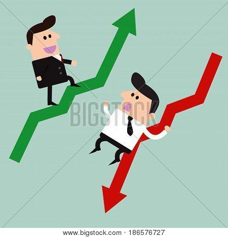 Businessman up & down, Businessman , up & down, vector illustration