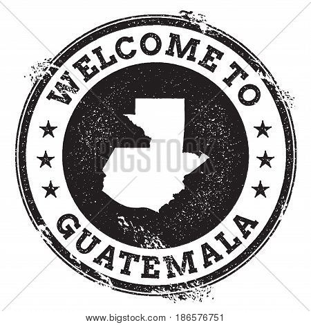 Vintage Passport Welcome Stamp With Guatemala Map. Grunge Rubber Stamp With Welcome To Guatemala Tex