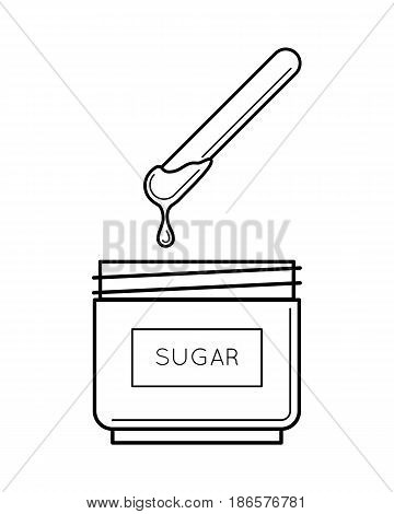 Sugaring paste box, open with a stick, body hair removing, depilation technique. Beauty and body care concept, line art object isolated on white background. Vector illustration