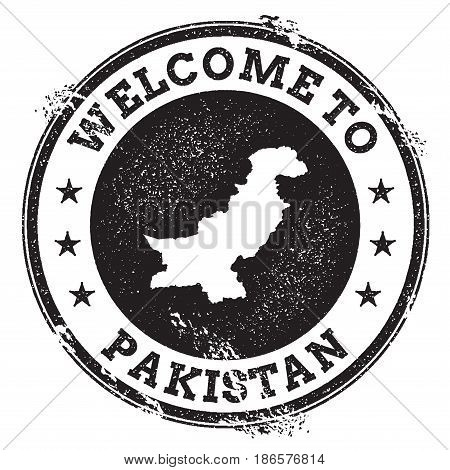 Vintage Passport Welcome Stamp With Pakistan Map. Grunge Rubber Stamp With Welcome To Pakistan Text,