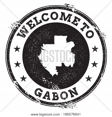 Vintage Passport Welcome Stamp With Gabon Map. Grunge Rubber Stamp With Welcome To Gabon Text, Vecto