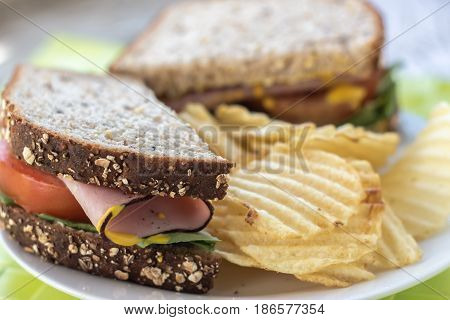 close up horizontal image of a whole wheat sandwich with meat and tomato on a plate with potato chips.