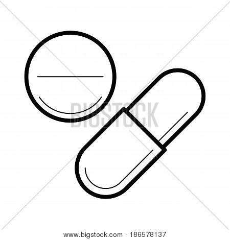 Icon with tablet and capsule in thin line style. Vitamin pills or medical drug for health, treatment. Medicine or pharmacy - outline pictogram. Vector illustrations isolated on white background.