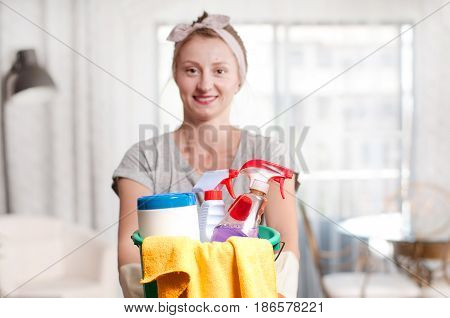 Cleaning service, Cleaning concept. Woman with detergent.