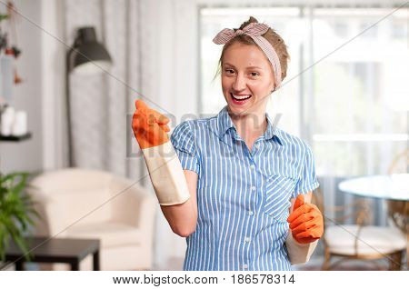 Cleaning concept.  Cleaning Service. Cleaning lady doing cleanup in apartment