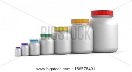 Jars with colored lids - rainbow. 3d illustration