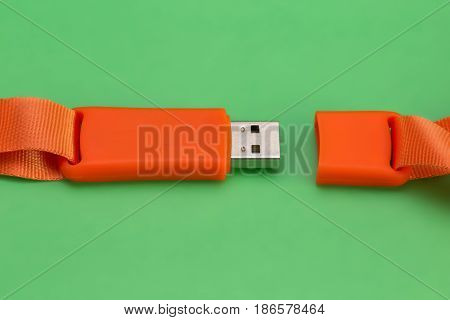 Orange Usb Flash Memory On A Green Background