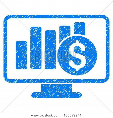 Grunge Stock Market Monitoring icon with grunge design and dust texture. Unclean vector blue pictogram for rubber seal stamp imitations and watermarks. Draft emblem symbol.