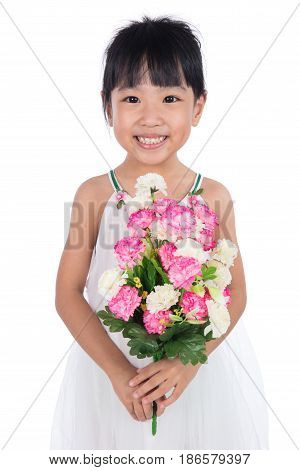 Asian Chinese Little Girl Holding Flowers Greeting For Mother's Day