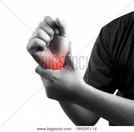 Man Suffering From Pain In Hand, Closeup