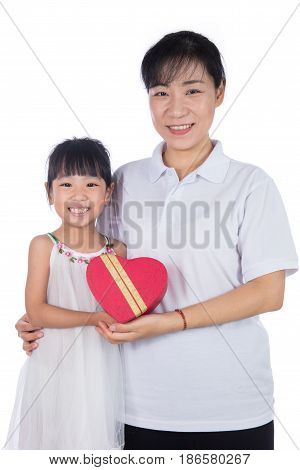 Asian Little Chinese Girl Celebrating Mother's Day With Her Mom