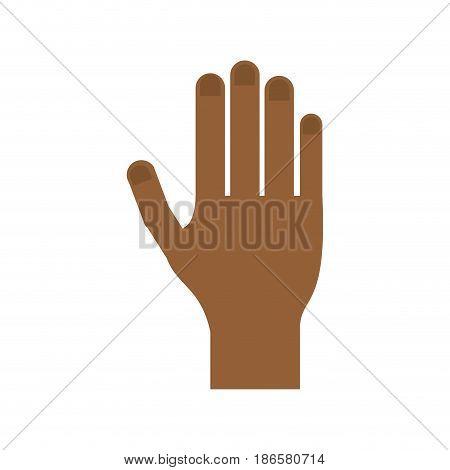 dark skin open hand icon image vector illustration design