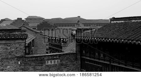 CHANGZHOU CHINA MAY 2017 : Chinese antique village park in b&w color