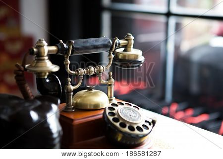 Black gold antique vitage telephone abstract of communication