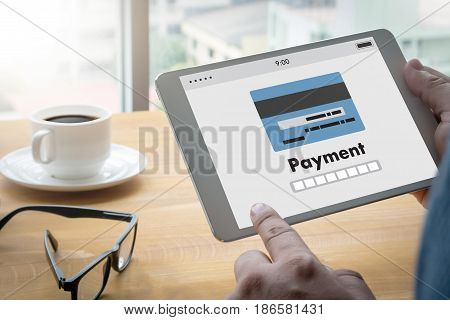 Man Using Mobile Payments Online Shopping M-banking  Internet Global Marketing