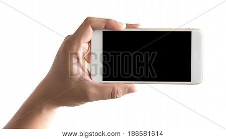 Isolated Hand Holding A Phone With Smart Phone White Screen
