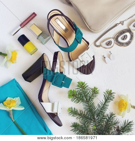 flat lay Women's shoes and accessories collage. Beauty and fashion background. Top view with copy space
