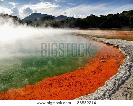 Champagne Pool in Waiotapu geothermal area in the North Island of New Zealand.