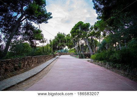 Barcelona Spain Europe Walkway Pathway in Park