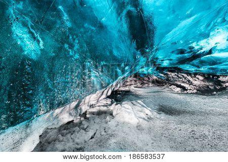 Beautiful ice cave landscape, in Jokulsarlon Iceland