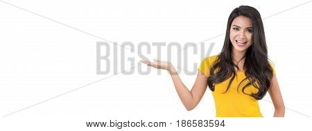 Casual confident Asian woman with open palm (hand) gesture on white banner background