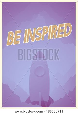 Word about inspiration and good attitude with rocket graphic