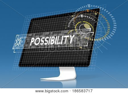 Computer screen possibility word graphic design