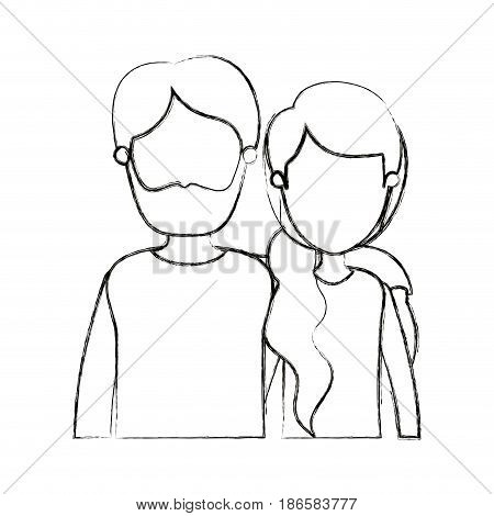 blurred silhouette cartoon faceless half body couple woman with ponytail side hair and bearded man vector illustration