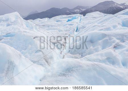 Beautiful white and blue glacier of Perito Moreno in Argentina